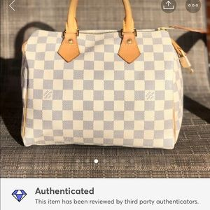 💕Louis Vuitton Azur Damier Speedy 25🎀👜
